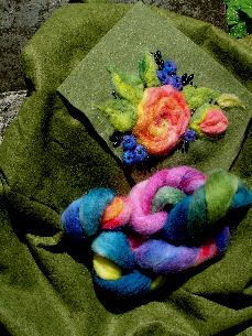 Ashford  roving  hand-dyed  wool  felting  needlefelting  felt